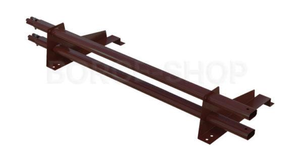Снегозадержатель трубчатый плоскоовальный BORGE 25х45 мм, L-1 м, 2 опоры для металлочерепицы
